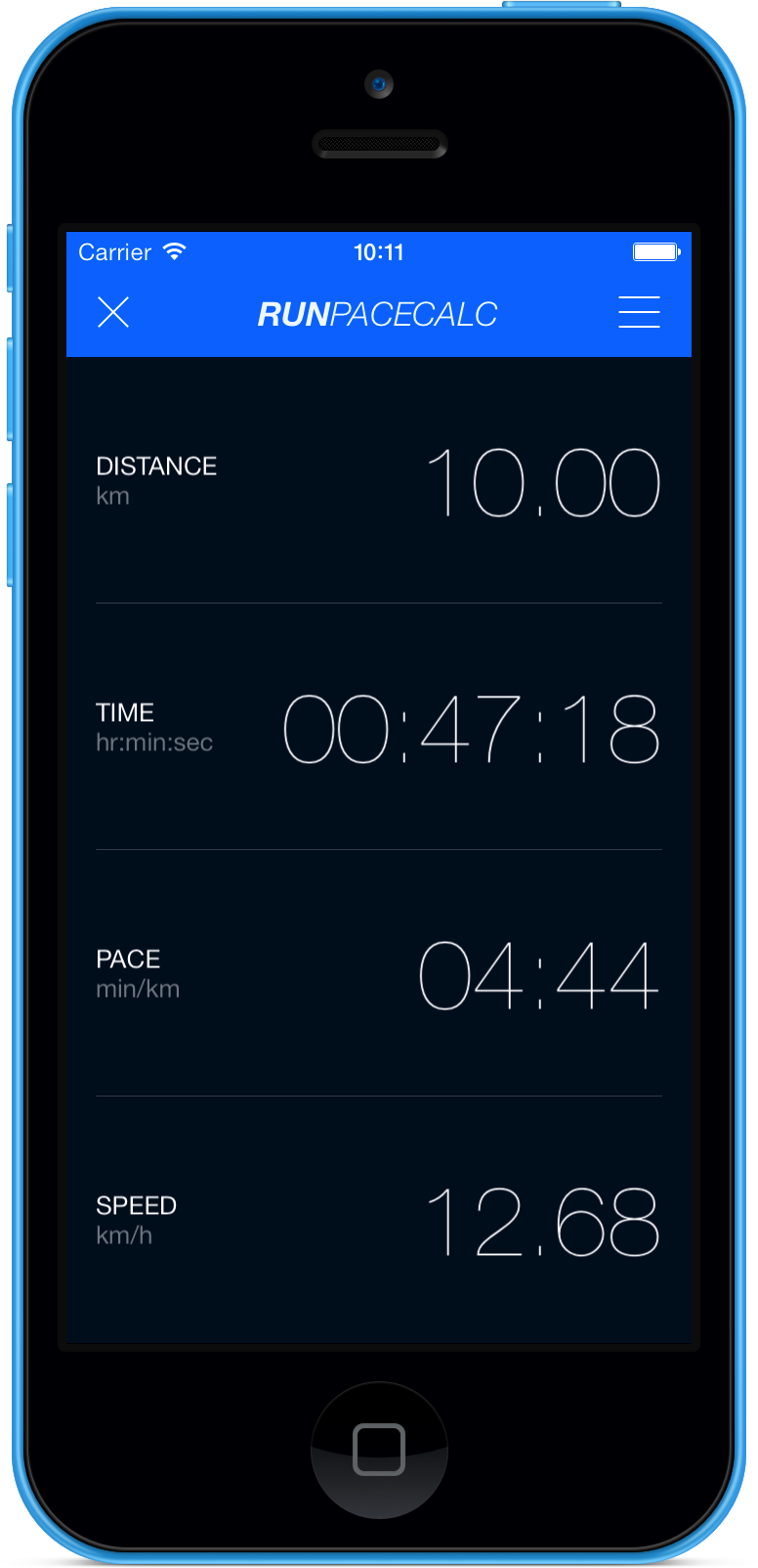 RunPaceCalc iPhone app for runners